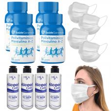Álcool Gel 4 + 4 Polivitamínico + 4 Máscaras